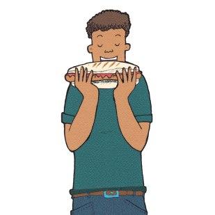 Man eating Hot dog