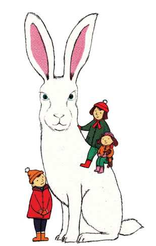 Hare and kids Xmas card design